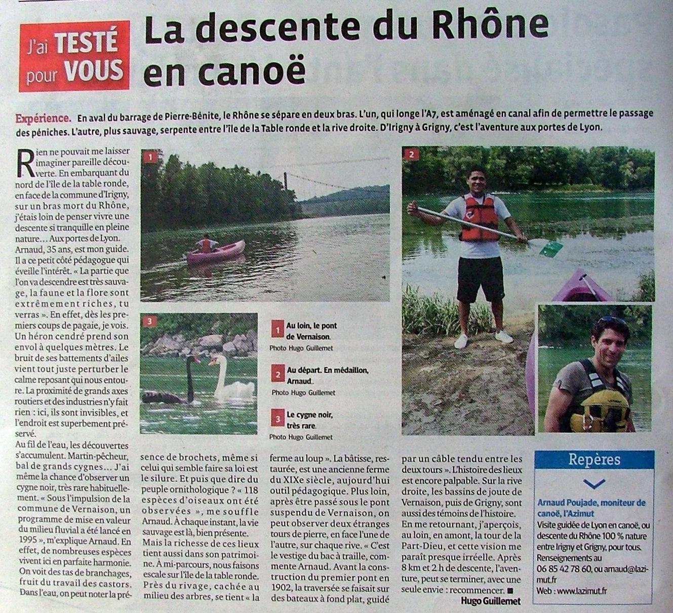 Parcours canoë - 100 % Nature - aux portes de Lyon